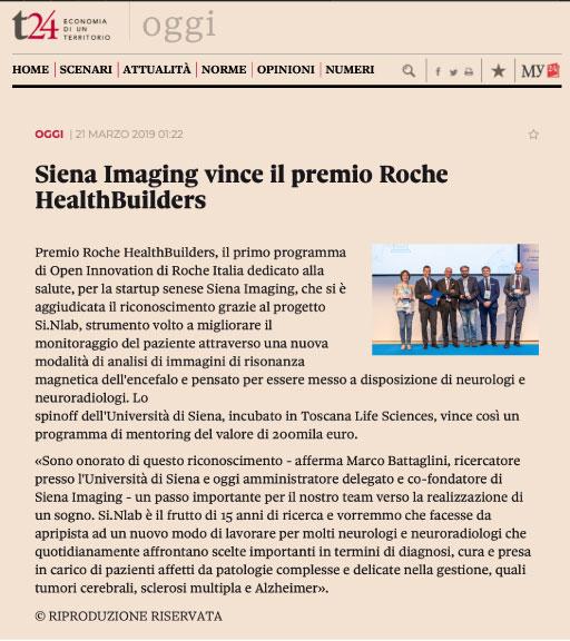 SIENA IMAGING WINS THE ROCHE HEALTHBUILDERS AWARD